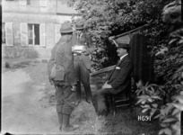 Sir Joseph Ward talking with a New Zealand soldier, Authie, France