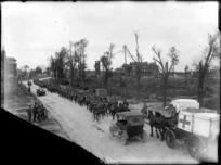 A New Zealand Battalion passing through recaptured Bapaume, World War I