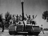 New Zealand soldiers on a captured German Tiger tank, Italy