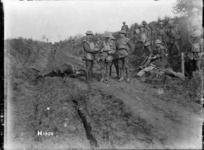 New Zealand soldiers at the front near Le Quesnoy