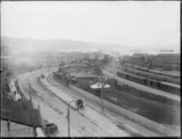 Thorndon Quay and railway yards, Wellington