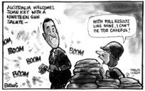 Evans, Malcolm Paul, 1945- :Australia welcomes John Key with a nineteen gun salute. 20 June 2011