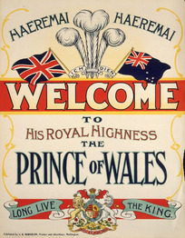 Haeremai, haeremai; Welcome to His Royal Highness the Prince of Wales. Long live the king / Published by A R Hornblow, printer and advertiser, Wellington [1920]