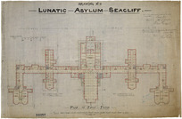 Lawson, Robert Arthur, 1833-1902 :Lunatic Asylum, Seacliff. Plan of first floor. Drawing No. 2. 1881.