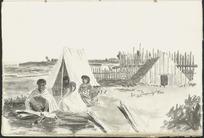 [Park, Robert] 1812-1870 :[Maori family outside a tent, Wanganui district, 1847?]