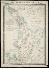 Seat of war in New Zealand [cartographic material] the North Island of New Zealand embracing the country round Auckland, Wellington & New Plymouth / by James Wyld.