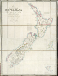The islands of New Zealand [cartographic material] : from the Admiralty surveys of the English and French Marine, from the observations of the officers of the New Zealand Company and from private surveys & sketches / compiled by James Wyld.