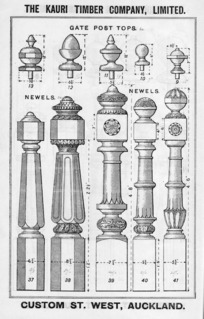 The Kauri Timber Company Ltd (Auckland Office) :Gate post tops, newels. [Catalogue page. ca 1906].