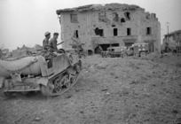 New Zealand transport approaching the devastated Italian village of Sesto Imolese