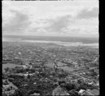 Suburb of Mount Eden, looking towards Harbour Bridge and North Shore, Auckland
