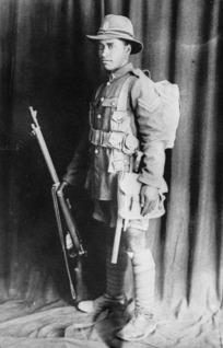 Unidentified Maori soldier in military uniform