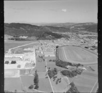 Trentham, Upper Hutt, featuring racecourse, and factory under construction