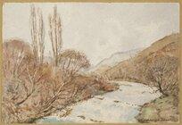 Barton, Cranleigh Harper, 1890-1975 :Upper Selwyn River from Whitecliffs Bridge. [ca 1950]