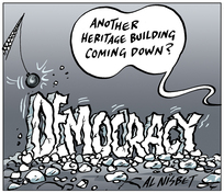 """Nisbet, Alistair, 1958- :""""Another heritage building coming down?"""" 11 August 2011"""
