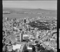Auckland city, looking towards Devonport and Rangitoto Island