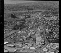 Unidentified factories in the Marua Road industrial area, Mt Wellington, Auckland, including Mt Wellington quarry and, in the distance, Tamaki River, Panmure, and Pakuranga