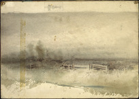 [Hodgkins, Isabel Jane] 1867-1950 :[Landscape with open gate and fence, ca 1886]