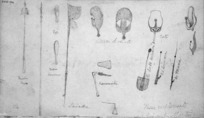Collinson, Thomas Bernard, 1822-1902 and Henare Matene Te Whiwhi, d.1881 :These implements were drawn by Martin [of Otaki] 1846. Mere. Taiaha. Paiaka. Kororariki. Tata. Patu. Mere kotiati. He poto kerikeri wenua. Ko kumara. Ko taewaa.