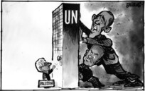 Evans, Malcolm Paul, 1945- :[Palestine knocking at the UN]. 22 September 2011