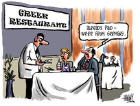 Hawkey, Allan Charles, 1941:'Greek Restaurant...' 'Already paid - We're from Germany.' 5 October 2011