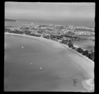 Manly, Whangaparaoa Peninsula, Auckland, showing housing and beach