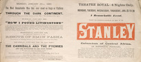 Theatre Royal (Christchurch) :Visit to Christchurch of Mr H. M. Stanley, the Columbus of Central Africa. Monday, Tuesday, Wednesday, Thursday, Jan[uary] 25 to 28. A remarkable event. 1892.