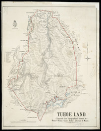 Tūhoe land [cartographic material] / compiled from topographical surveys by Messrs. Philips, Foster, Baber, Clayton & Mouat.