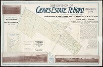 Sub-division of Gear's estate, Te Horo, Manawatu line [cartographic material] / Thomas Ward, licensed surveyor.