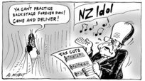 "NZ Idol. ""Ya can't practice backstage forever Don! Come and deliver!"" 28 July, 2005"