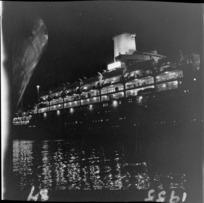 Ocean liner SS Orsova, view of exterior at night