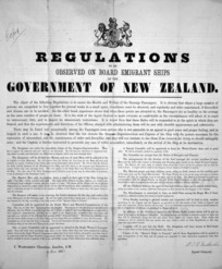 New Zealand Government. Agency-General :Regulations to be observed on board emigrant ships of the Government of New Zealand. 1873.