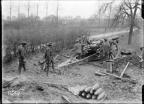 A howitzer supporting New Zealanders at the front, France, World War I