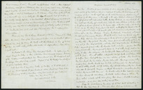 Letter including sketch of Stockades at Wanganui from Shakespeare Cliff