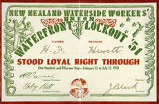 New Zealand Waterside Workers' Union: waterfront lockout '51 certificate