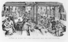 Dinner on board the first emigrant ship for New Zealand