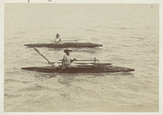 Men in canoes, Niue