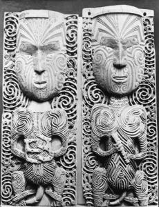 Wooden Māori carvings
