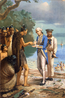 Captain Cook with Māori in the Bay of Islands
