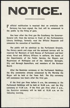 Armistice ceremony notice