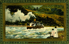 [Postcard]. Steamer shooting rapids, Wanganui River, New Zealand. New Zealand series III, postcard 739. Saxony, Raphael Tuck & Sons, [ca 1912].