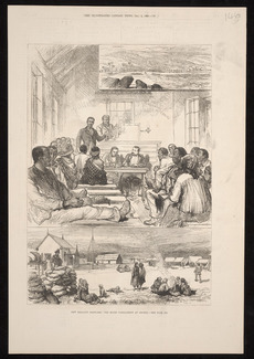 Artist unknown :New Zealand sketches; the Maori parliament at Orakei - see page 553. The Illustrated London news, Dec. 4, 1880 - [page] 55[7?]