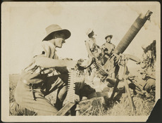 Soldiers firing at an enemy aircraft