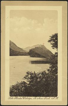 [Postcard]. Lake Howden Wakatipu, Te Anau Track, N.Z. Dominion of New Zealand postcard. London Bookstall, Dunedin & Queenstown. [ca 1910].