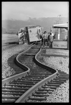 Railway lines and locomotive after the Edgecumbe earthquake
