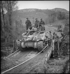 Army tank crossing the Sangro River, Italy