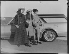 Three female models posing