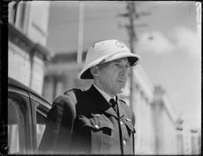 Policeman wearing summer helmet