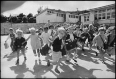 Children at Wilton school taking off for the Christmas holidays