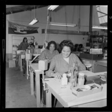 Workers at Tatra Leather factory, Wainuiomata, Lower Hutt