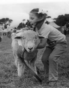 Mangaroa school farm day; pupils with their pet farm animals. [P3-135-730]